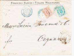 Finlande, D'helsinki En 1875,n°16a Et 20 Dentelé 11  Pour Cognac    TB Et RR Sur Lettre - 1856-1917 Administration Russe