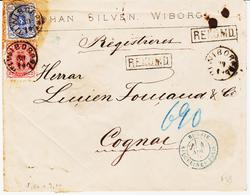 Finlande, De Wiborg , 1876 ,n°16a Et 20 Dentelé 11  Pour Cognac    TB Et RR Sur Lettre - 1856-1917 Administration Russe