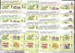 MALAYSIA, 2018, MNH, STATE DEFINITIVES, FLOWERS, ORCHIDS, 14 SHEETLETS , 84v - Orchidee