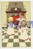 Enfant, Petits Anges, Horloge (minuit). Gâteau, Houx. Coloprint Spécial 1418 - Christmas