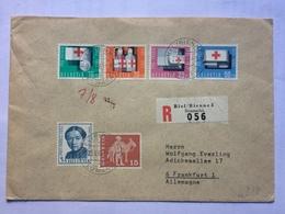 SWITZERLAND 1963 Registered Biel Cover To Frankfurt Tied With Pro Patria Stamps - Switzerland