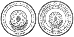 AC - CENTENARY OF NATIONAL ASSEMBLY OF AZERBAIJAN DEMOCRATIC REPUBLIC COMMEMORATIVE SILVER COIN PROOF - UNC TURKEY 2018 - Turchia