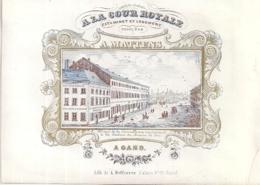 """GAND-GENT """"A.MATTENS-LA COUR ROYALE-ESTAMINET ET LOGEMENT""""LITH.DEFFERREZ-177/128MM - Cartes Porcelaine"""