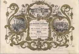 "GAND-GENT""NIEUWJAARSKAART CASINO 1843""LITH.JACQMAIN-135/97MM - Cartes Porcelaine"