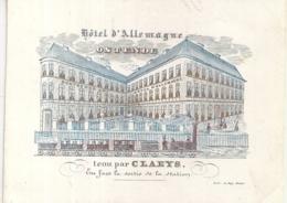 """OOSTENDE-OSTENDE """"HOTEL ALLEMAGNE-CLAEYS""""LITH.DE LAY-137/105MM - Cartes Porcelaine"""