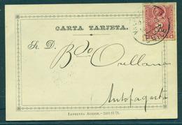 CHILE - Stationery. 1893 (10 Oct). Valp - Antofagasta (15 Oct). Carta Tarjeta 1st Design 35x22 Line, 25mm Main No Wmk, V - Chile
