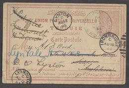 TURKEY. 1895 (5 Aug). Brousse - UK, Lynton, Fwded 20p Lilac Stat Card. Fine Used. - Turchia