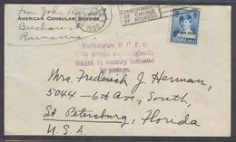 ROMANIA. 1930. US Consular Bucharest - USA, Fla, St Petersburg. June 1930 Ovptd Issue Fkd Env Wahsinton Cachet. Prec. - Zonder Classificatie