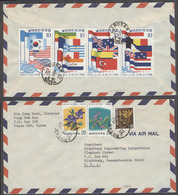 KOREA. 1975 (18 Sept). Busan - USA. Air Multifkd Env Incl Flags Issue. VF. - Korea (...-1945)