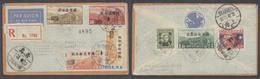 China - XX. 1948 (8 Nov). Air Overprinted Issues Canton - Sweden Linkoping. Via Shanghai. Reg Multifkd Airmail Env. 1,70 - China