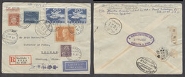 China - XX. 1937 (21 May). China - German Airmails. Stockholm, Sweden - China, Tsinan, Sahntung. Reg Air Multifkd Arriva - China