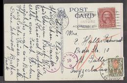 USA - XX. 1932 (26 Feb). SF - Switzerland, St Gallen (13 March). 2c Washington Fkd View PPC Taxed Swiss Tied Pdue 15c Au - Unclassified