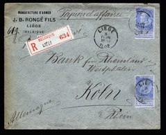 A6164) Belgien Belgium R-Geschäftspapiere Liege 03.02.02 N. Köln M. MeF - 1893-1900 Schmaler Bart