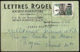 Carte Postale Pubicitaire - Lettres Rodel  Neuilly Plaisance - 18-11-1958 - France