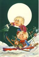 Chute De 2 Garçonnet Faisant Du Ski De Nuit Avec Un Lapin Chute Aussi D'un Panier D'œufs (Paques ?)    Cp Format 10-15 - Illustrateurs & Photographes