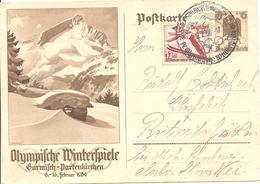 1936 Jeux Olympiques De Garmisch-Partenkirchen: Entier Postal Pour La Tchécoslovaquie - Winter 1936: Garmisch-Partenkirchen