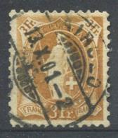 Svizzera 1882 Mi. 64 Usato 100% 3 F, Helvetia In Piedi - 1882-1906 Stemmi, Helvetia Verticalmente & UPU