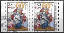 """France 1993 Oblitéré  N° 2853a  Croix Rouge """" St Nicolas """"    (dentelé 13.5 X 13)  La Paire Attenante - Oblitérés"""