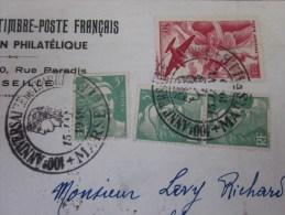Lettre Recommandé Anniversaire Centenaire Timbre-poste Français-:aff Marianne Gandon +poste Aérienne  Gambais 20/1/1949 - Marcophilie (Lettres)