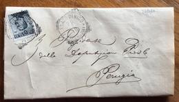 FOSSATO DI VITO PERUGIA Annullo Tondo Riquadrato SU LETTERA PER PERUGIA IN DATA 19/7/1910  AUTOGRAFO DEL SINDACO - Storia Postale