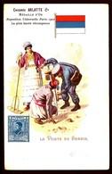 CP 6- CPA- PUB CHICORÉE- POSTES ET FACTEURS DU MONDE- ILLUSTRATION LA POSTE EN SERBIE EN 1900- DRAPEAU- 2 SCANS - Poste & Facteurs