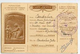 Carte D'identité Cauderlier RARE Ministère Beaux Arts CARENTON Manche CALVADOS Victime De Guerre Pupille Nation 1921 20s - Documentos Históricos