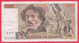 """100 Francs """"Delacroix"""" 1991 ---F/TTB+ --Série O.171 --Grand Filigrane-Alphabet PEU COMMUN - 1962-1997 ''Francs''"""