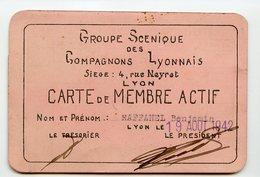 Carte D'identité Membre Actif 1942 40s RAFFANEL Groupe Scenique Compagnon LYON Association - Historical Documents