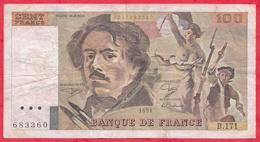 "100 Francs ""Delacroix"" 1991 ---F/TTB+ --Série B.171 --Grand Filigrane-Alphabet PEU COMMUN - 100 F 1978-1995 ''Delacroix''"
