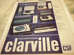 ANCIENNE PUBLICITE ELECTROPHONE CLARVILLE  1964 - Autres