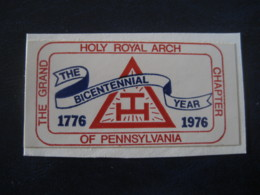 Holy Royal Arch The Grand Chapter Of Pennsylvania 1976 Poster Stamp Label Vignette Masonic Masonry Freemasonry - Franc-Maçonnerie