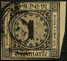 BADEN 1b O, 1851, 1 Kr. Schwarz Auf Braun, Rechtes Randstück, Mit Nummernstempel 11 (BIBERACH), Oben Knapp-lupenrandig,  - Baden