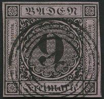 BADEN 4a O, 1851, 9 Kr. Schwarz Auf Altrosa, Nummernstempel 57, Allseits Breitrandig, Pracht - Baden