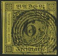 BADEN 7 O, 1853, 6 Kr. Schwarz Auf Gelb, Allseits Breitrandig, Pracht - Baden