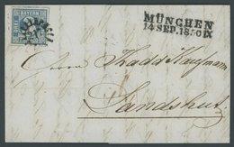 BAYERN 2Ia BRIEF, 1850, 3 Kr. Blau, Platte 1, Voll-breitrandig Mit 3 Schnittlinien, Mit MR-Stempel 217 Von MÜNCHEN Nach  - Bavaria