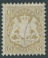 BAYERN 24X O, 1870, 6 Kr. Lebhaftockerbraun, Wz. Enge Rauten, Pracht, Mi. 90.- - Bavaria