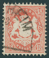 BAYERN 27Xb O, 1870, 18 Kr. Dunkelziegelrot, Wz. Enge Rauten, Kabinett, Gepr. Brettl, Mi. (240.-) - Bavaria
