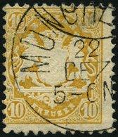 BAYERN 35 O, 1875, 10 Kr. Dunkelchromgelb, Wz. 2, Helle Ecke Sonst Pracht, Gepr. W. Engel, Mi. 320.- - Bavaria