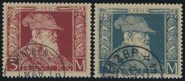 BAYERN 88/9I O, 1911, 3 Und 5 M Luitpold, Type I, 2 Prachtwerte, Mi. 115.- - Bavaria