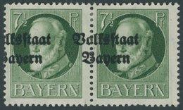 BAYERN 118IIA Paar *, 1919, 71/2 Pf. Volksstaat, Gezähnt, Im Waagerechten Paar Mit Stark Verschobenem Aufdruck, Falzrest - Bavaria