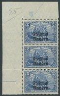 BAYERN 149B PF I **, 1919, 2 M. Freistaat Im Senkrechten Dreierstreifen Aus Der Bogenecke, Mittlere Marke Mit Plattenfeh - Bavaria