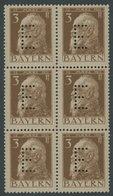BAYERN D 6 **, 1912, 3 Pf. Braun Auf Mattgraubraun Im Postfrischen Sechserblock, Pracht, Mi. (72.-) - Bavaria