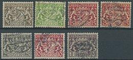 BAYERN D O, 1916-19, 7 Verschiedene Gestempelte Mittlere Werte Aus Mi.Nr. 16-43, Pracht, Alle Gepr. Helbig, Mi. 110.- - Bavaria