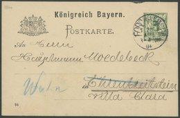 1894, 5 Pf. Ganzsachenkarte Mit K1 FORCHHEIM An Den Luftfahrtpionier Hauptmann, Pracht -> Automatically Generated Transl - Bavaria