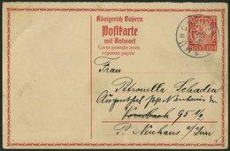 BAYERN P 96 BRIEF, 1914, 10 Pf. Wappen, Frageteil Mit Zierrahmen Und Rückseitigem Zudruck, Feinst (Eckmängel) - Bavaria