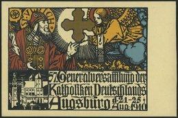 BAYERN PP 15C181 BRIEF, Privatpost: 1910, 5 Pf. Wappen 57. Generalversammlung Der Katholiken, Ungebraucht, Prachtkarte - Bavaria
