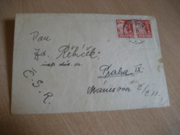 HELSINGOR 1937 ? To Praga Czechoslovakia Pair 2 Stamp On Cancel Cover DENMARK - Lettres & Documents
