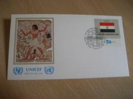 NEW YORK 1981 Flag Series UNICEF British Museum USA FDC Cancel Cover EGYPT - Égypte