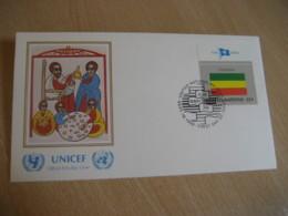 ETHIOPIA New York USA 1986 Flag Series UNICEF Barbara Tkacz-Tesfaye Painting FDC Cancel Cover United Nations UN - Ethiopie