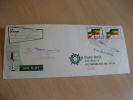 ADDIS ABABA 1991 To Gothenburg USA 2 Flag Stamp On Air Mail Cover ETHIOPIA - Ethiopie